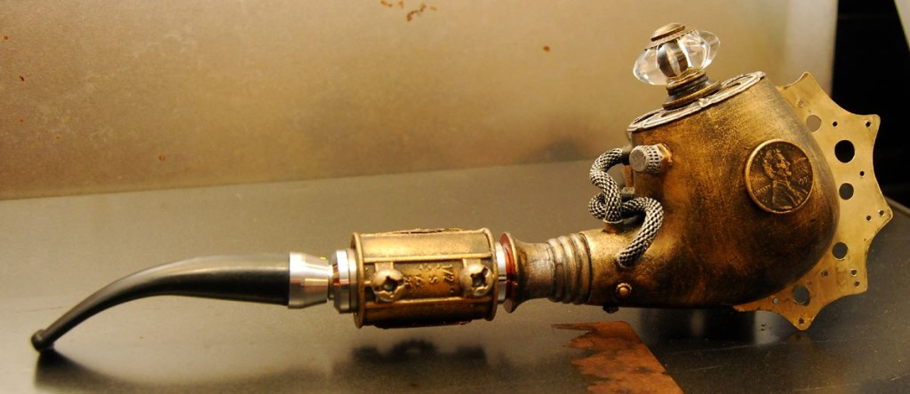 E-fajka v štýle steampunk, podžánrom sci-fi inšpirovaným érou pary