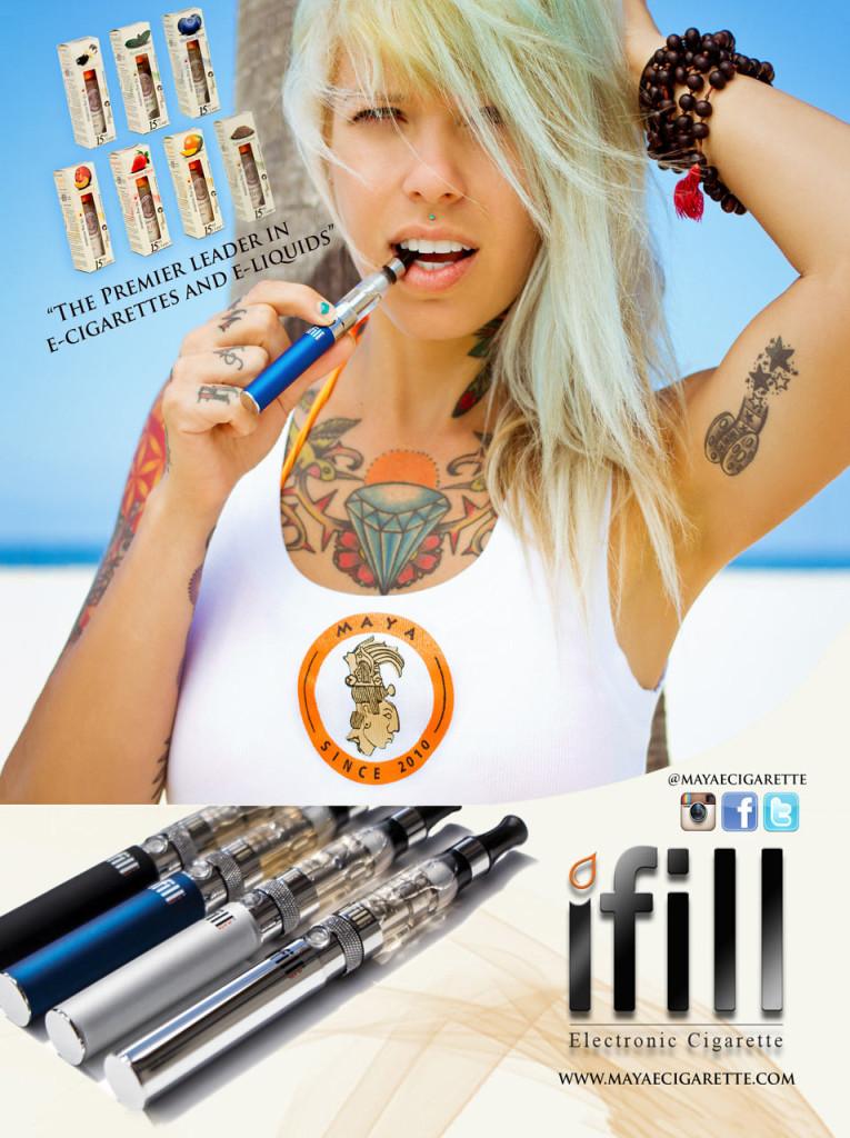 Reklama na značku Maya s potetovanou modelkou